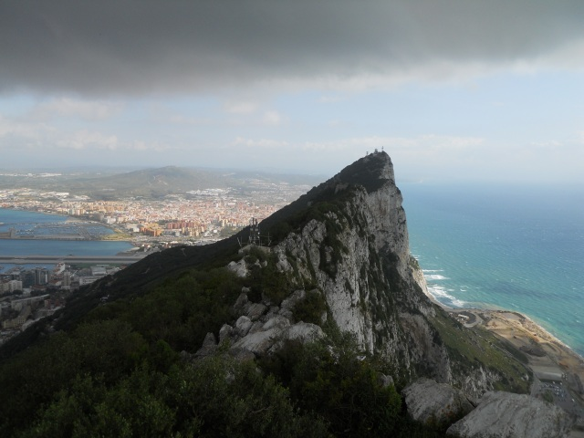 Looking north from the ridge of Gibraltar, you can see Spain and bays on both sides of the peninsula.