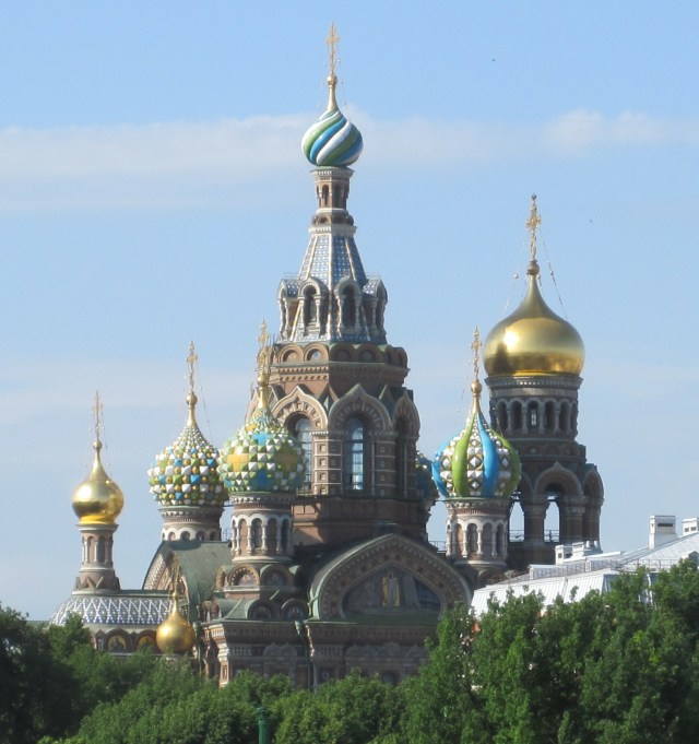 This view from a distance shows off the elaborate towers of the Church of the Savior on Spilled Blood. Photo by J. Emmons