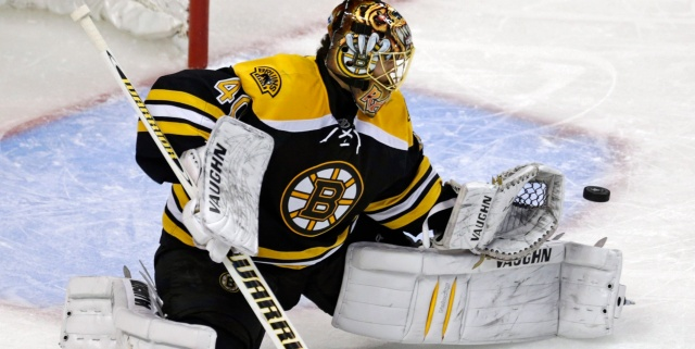 Boston Bruins goalie Tuukka Rask makes a save against the New York Rangers