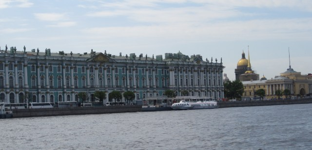 The Hermitage and St. Isaac's Cathedral as seen from the Neva River