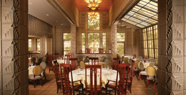 Do not overlook the architectural and culinary treats at some hotels. This is the Arizona Biltmore dining room named for Frank Lloyd Wright.