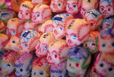 Sugar skulls are the favored candy for Day of the Dead.