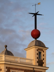The red ball at the Royal Observatory drops at 1 PM daily to mark the correct time. This was the inspiration for the dropping ball in Times Square at New Years. Photo by Nanisub