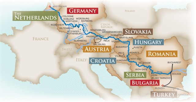 This map shows the entire route made possible by the Europa  Canal. Courtesy of Amawaterways