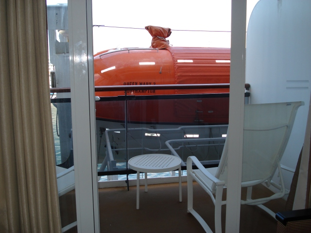 This is a lovely balcony space but the view is seriously compromised by the lifeboat!
