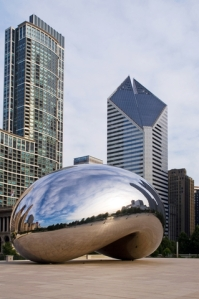 This silvery sculpture is called Cloud Gate. Though it looks like a bean, it is not in Beantown.  Photo by Boykov