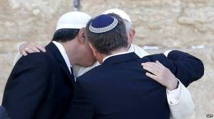 Pope Francis embracing a rabbi and an imam at the Western Wall. Photo from Network Lobby