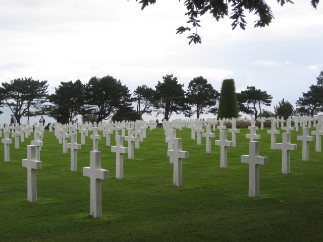 The Normandy American Cemetery sits at the top of the bluff above Omaha Beach. Photo by J. Emmons