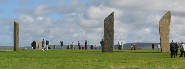 The Stones of Stenness are accessible to the public but it is a smaller, less complete circle than the Ring of Brodgar. Photo by G. Emmons