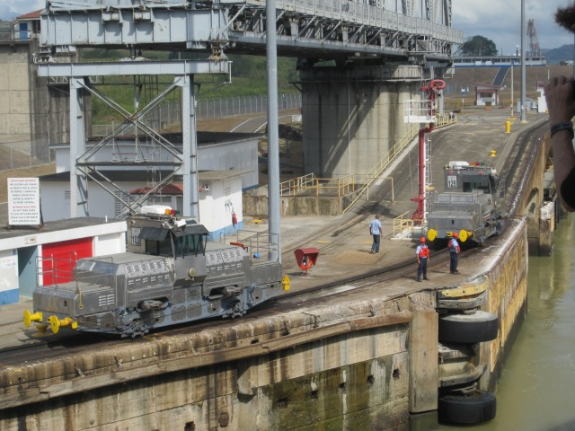 Mules engines wait to guide each ship through the lock. Photo by J. Emmons
