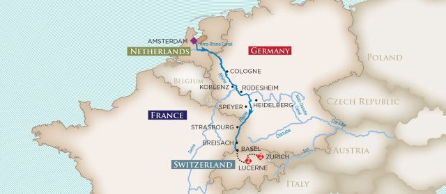 This map shows our itinerary for the Enchanting Rhine cruise.
