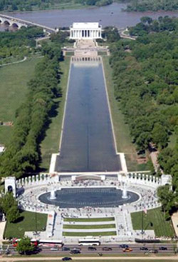 Aerial view of the National World War II Memorial. -- Wikipedia